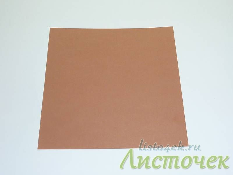 Берем квадратный лист бумаги подходящего цвета