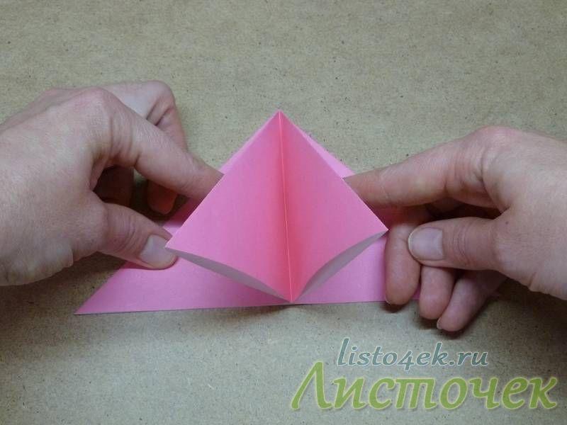 Получаем вот такие двойные треугольники, тоже самое делаем с другой стороны
