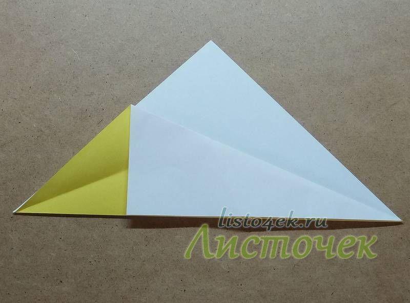 Так же загибаем и другую сторону треугольника