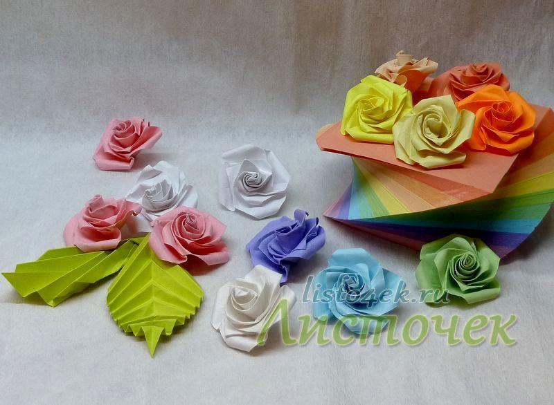 Бумажными розами можно украсить интерьер (розочки из бумаги для записи)