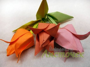 Как сделать цветок - тюльпан из бумаги