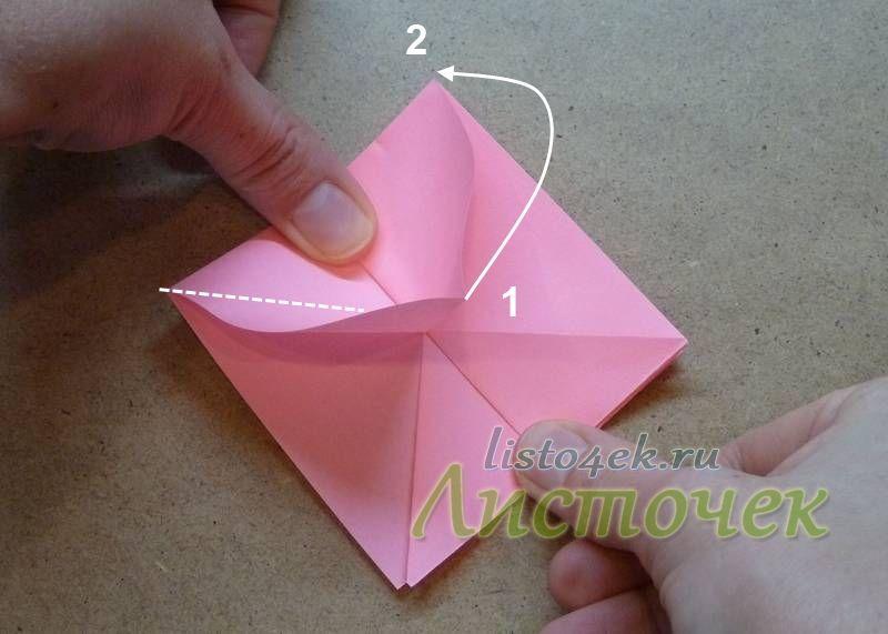 Хорошо разглаживаем швы. Дальше уголок (1), который стоит вертикально в центе, надо совместить с углом (2)