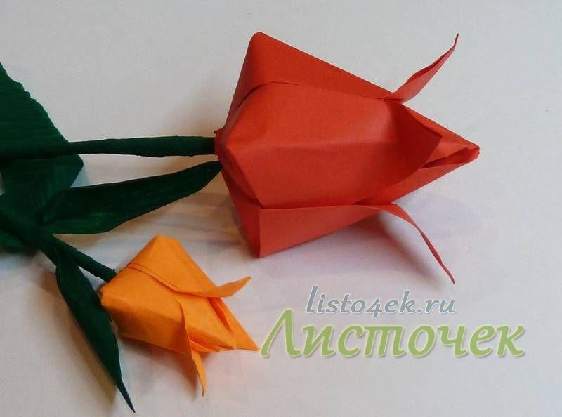 Теперь можно смастерить большой букет из разноцветных тюльпанов