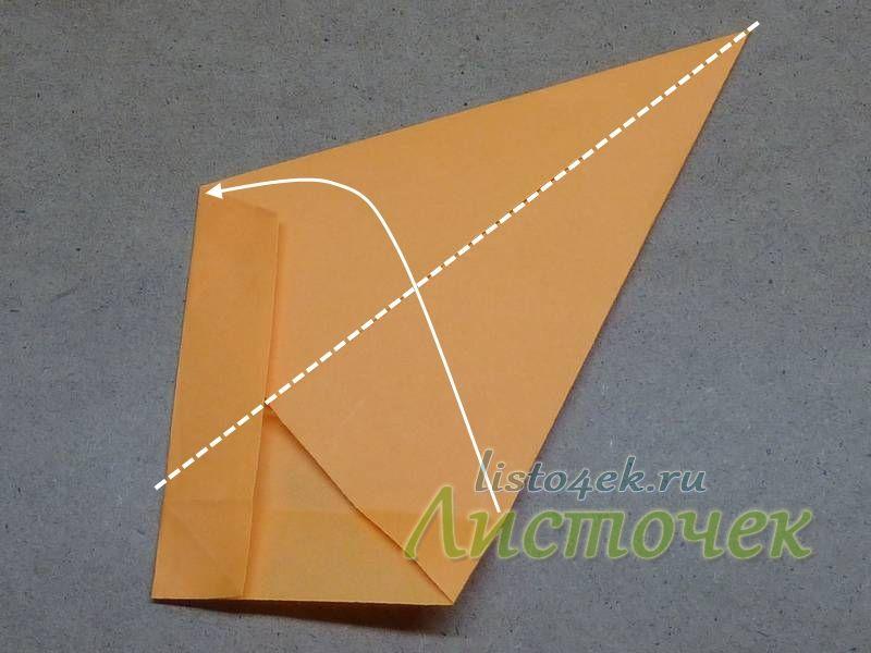 Теперь фигурку сгибаем пополам по полученной ранее диагонали квадрата