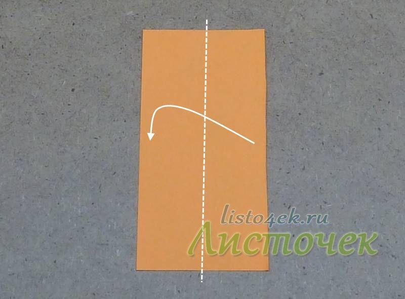 Сгибаем полученный прямоугольник по длине пополам