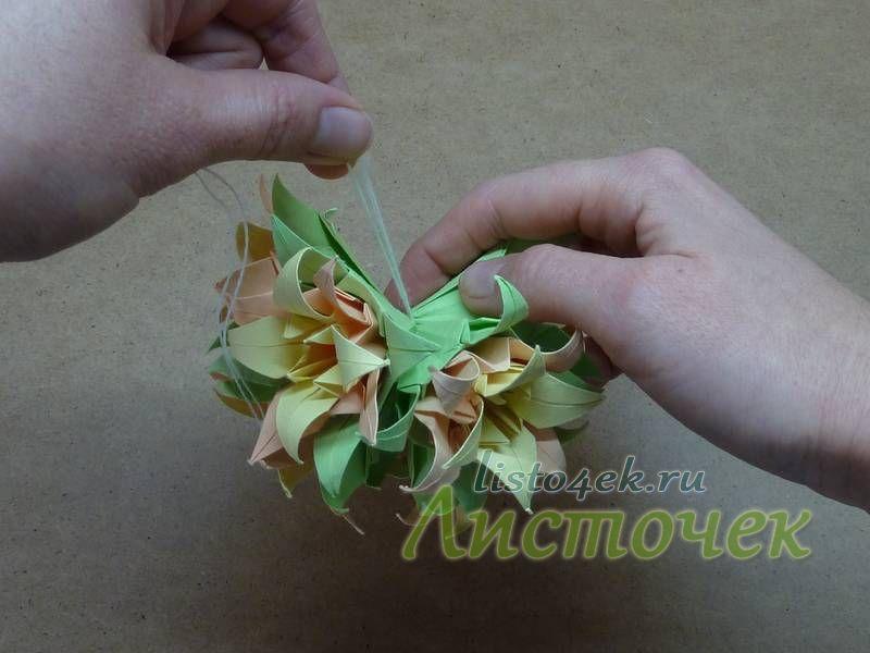 6 цветков в сборе - половинка кусудамы
