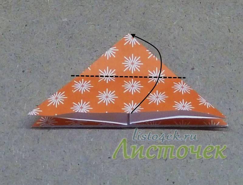 Теперь середину основания треугольника совмещаем с вершиной