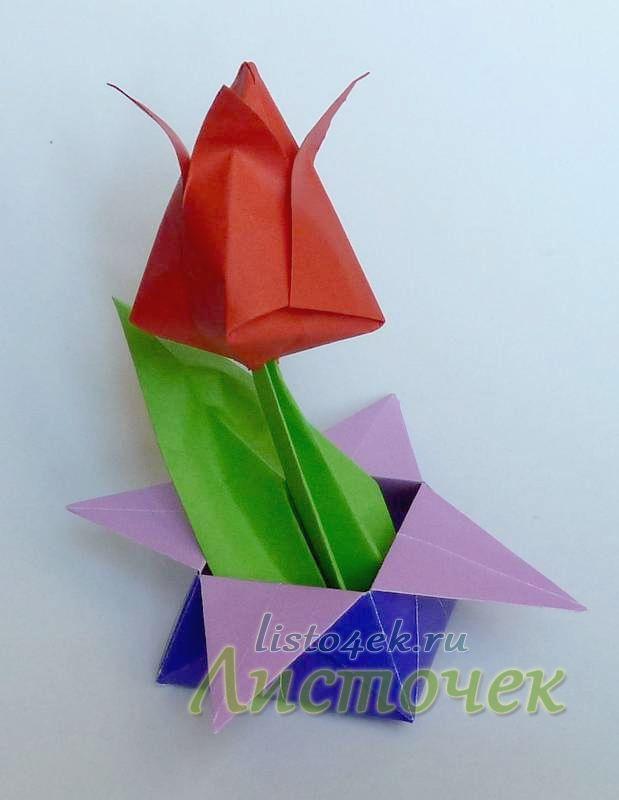 Такая коробочка с тюльпанами, сделанными своими руками, будет хорошим подарком к 8 Марта.