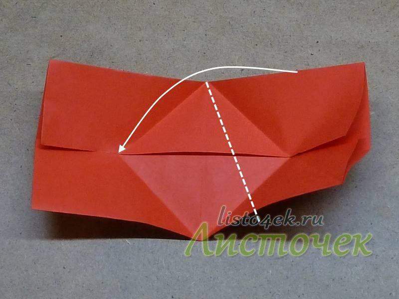 Теперь сгибаем фигурку так, чтобы совместить стороны прямоугольника с полученными выше линиями сгиба