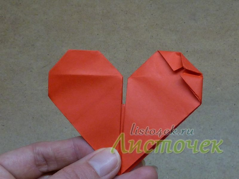 Правильно сложенная часть сердца должна выглядеть одинаково с одной и другой стороны