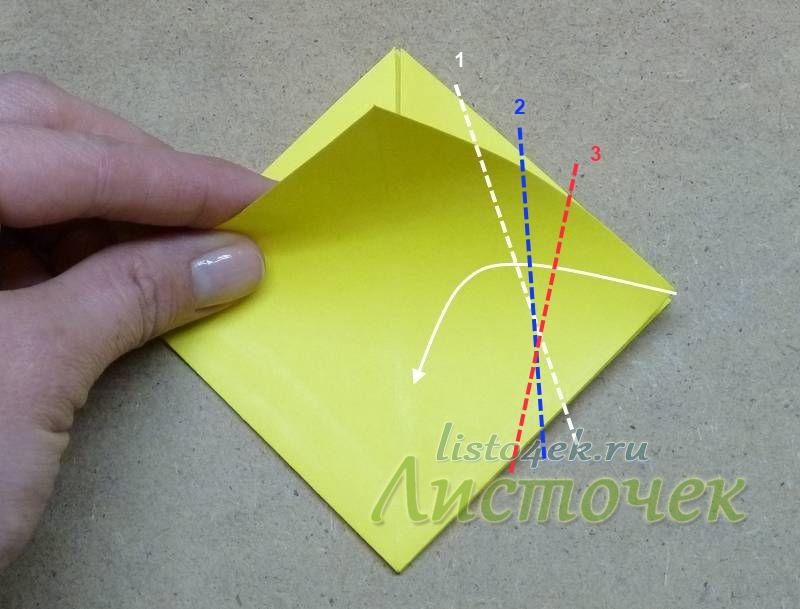 Для того чтобы сложить бутон (1) надо боковой угол согнуть к центральной линии, немного отводя его вниз. При этом мы уменьшаем верхнюю часть, чтобы цветок у основания был шире, чем у вершины. Если надо сложить более раскрытый цветок, то делаем сгиб соответственно по линиям 2 или 3