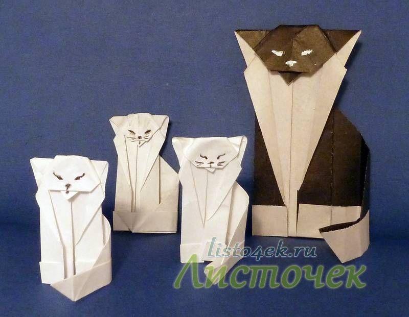 Если данная модель оригами кошки не вызвала у вас затруднений, то можно сделать целую кошачью семью