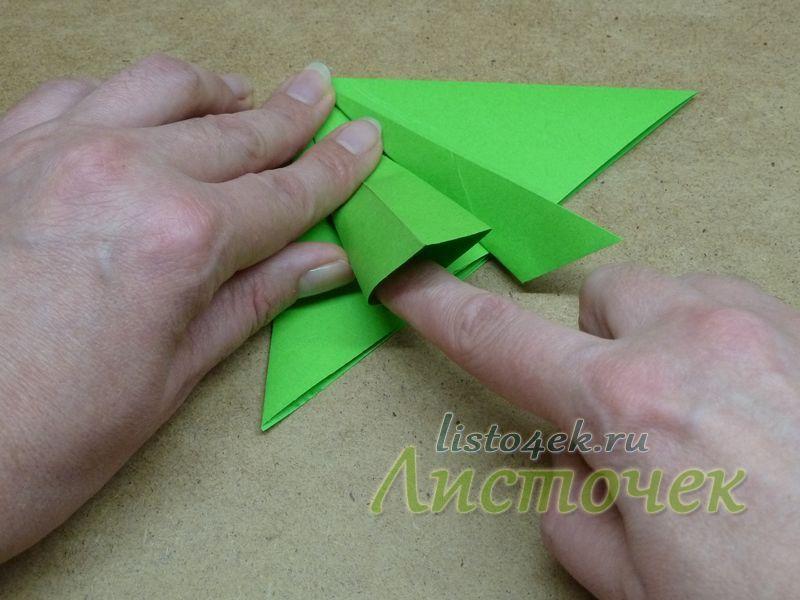 """4. Каждый треугольник получается двойной и его можно """"раскрыть"""". Раскрываем левый треугольник, разделяя его на две части"""