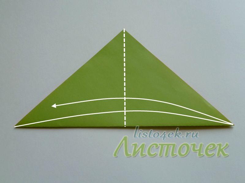 Полученный треугольник согнули пополам и разогнули