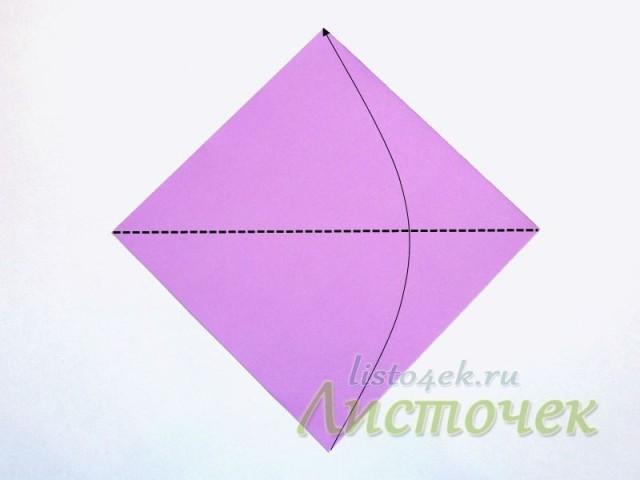 Складываем квадрат по диагонали