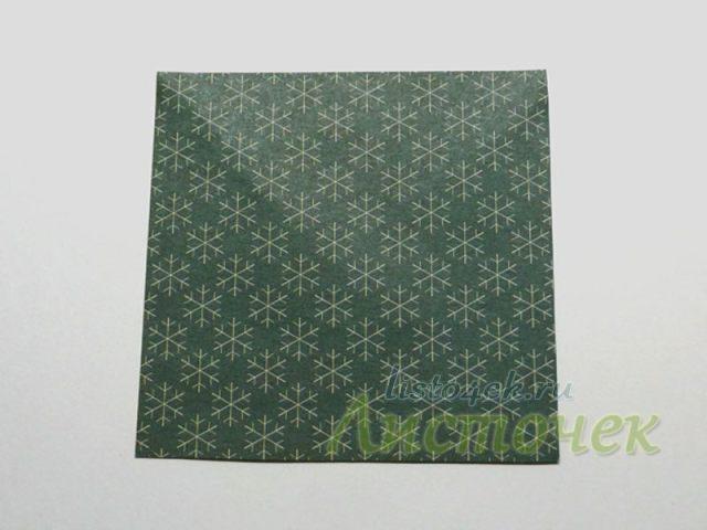 Кватратный лист для изготовления елочки