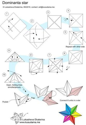 Схема объемной шестиконечнойтзвезды из бумаги
